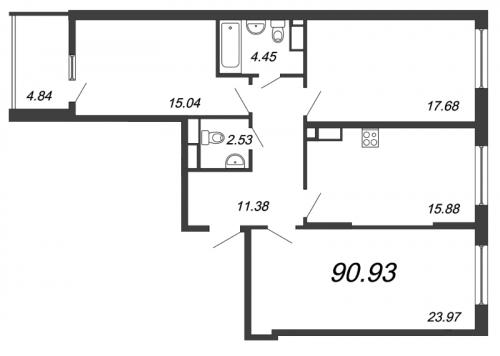 3-комнатная квартира на продажу (90,9 м<sup>2</sup>)