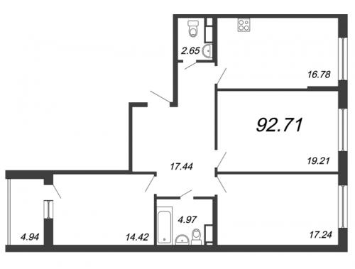 3-комнатная квартира на продажу (92,3 м<sup>2</sup>)