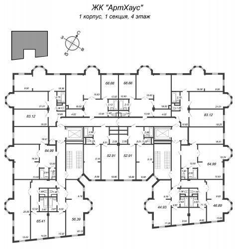 3-комнатная квартира на продажу (83,1 м<sup>2</sup>)