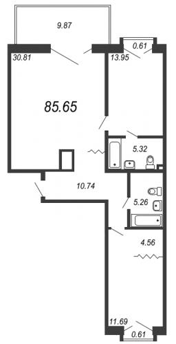 3-комнатная квартира на продажу (85,7 м<sup>2</sup>)