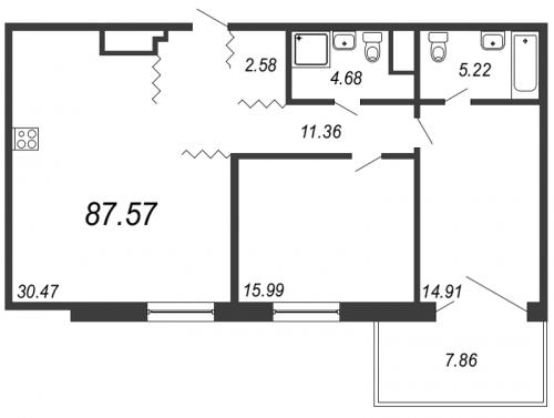 3-комнатная квартира на продажу (87,6 м<sup>2</sup>)