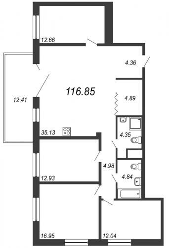 5-комнатная квартира на продажу (116,9 м<sup>2</sup>)