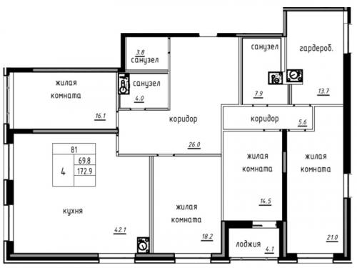 5-комнатная квартира на продажу (175,0 м<sup>2</sup>)