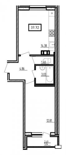 2-комнатная квартира на продажу (37,7 м<sup>2</sup>)
