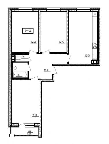 4-комнатная квартира на продажу (79,5 м<sup>2</sup>)