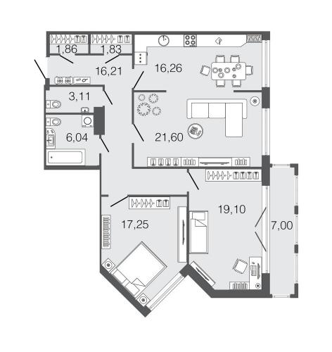 3-комнатная квартира на продажу (103,3 м<sup>2</sup>)