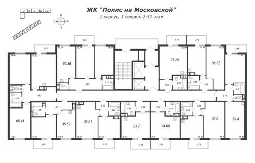 3-комнатная квартира на продажу (55,2 м<sup>2</sup>)