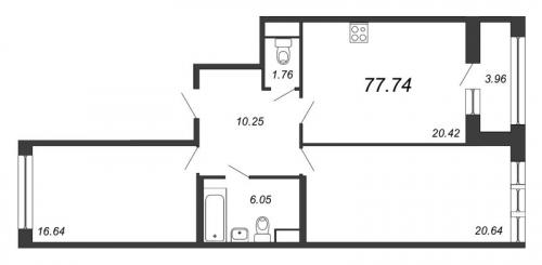 2-комнатная квартира на продажу (77,7 м<sup>2</sup>)