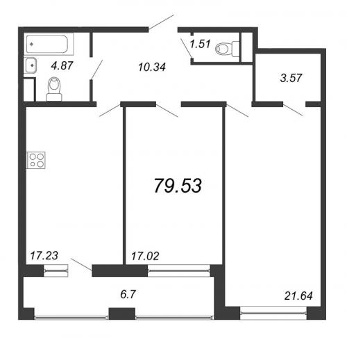 2-комнатная квартира на продажу (79,5 м<sup>2</sup>)