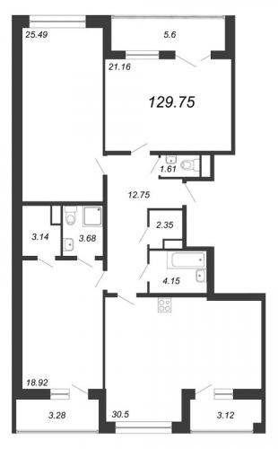 4-комнатная квартира на продажу (129,8 м<sup>2</sup>)