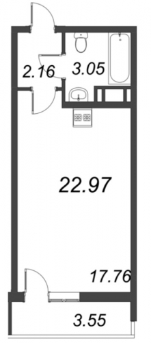 Студия на продажу (23,0 м<sup>2</sup>)