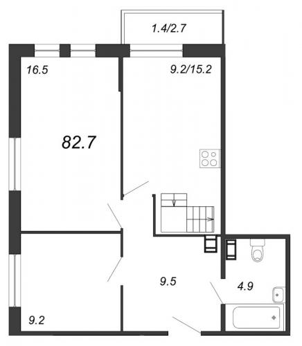 3-комнатная квартира на продажу (82,7 м<sup>2</sup>)