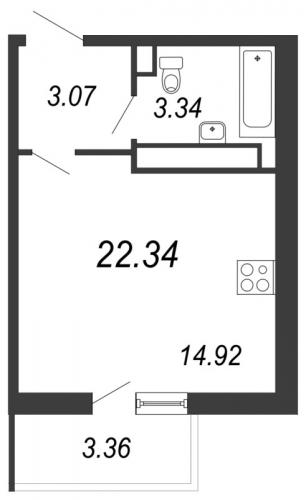 1-комнатная квартира на продажу (22,3 м<sup>2</sup>)