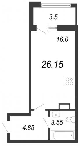 1-комнатная квартира на продажу (25,2 м<sup>2</sup>)