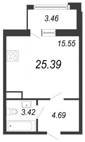 1-комнатная квартира на продажу (25,4 м<sup>2</sup>)
