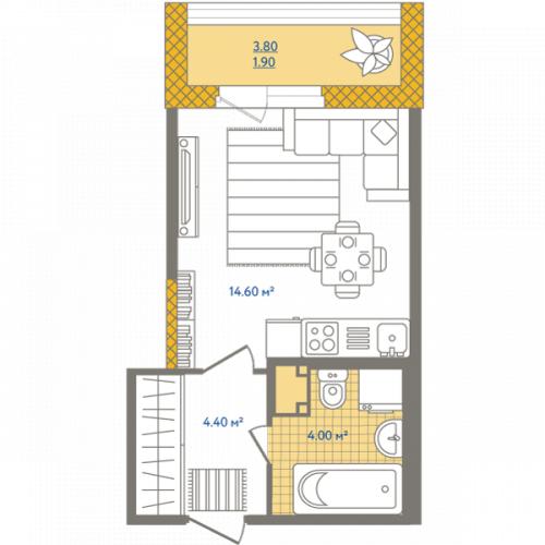 1-комнатная квартира на продажу (24,9 м<sup>2</sup>)