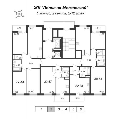 1-комнатная квартира на продажу (32,7 м<sup>2</sup>)