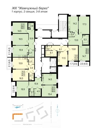1-комнатная квартира на продажу (43,6 м<sup>2</sup>)