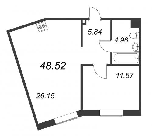 2-комнатная квартира на продажу (48,5 м<sup>2</sup>)