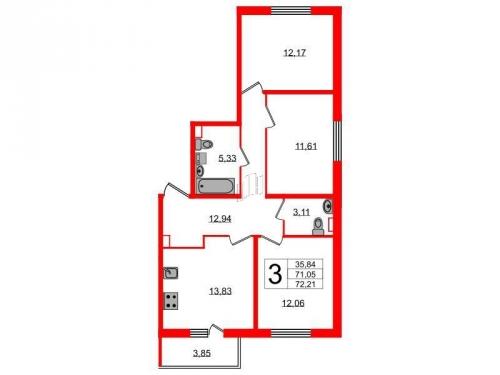 3-комнатная квартира на продажу (72,2 м<sup>2</sup>)