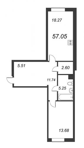 1-комнатная квартира на продажу (57,1 м<sup>2</sup>)