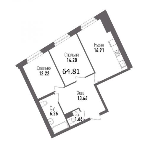 2-комнатная квартира на продажу (64,8 м<sup>2</sup>)