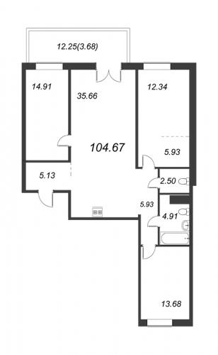 4-комнатная квартира на продажу (104,7 м<sup>2</sup>)