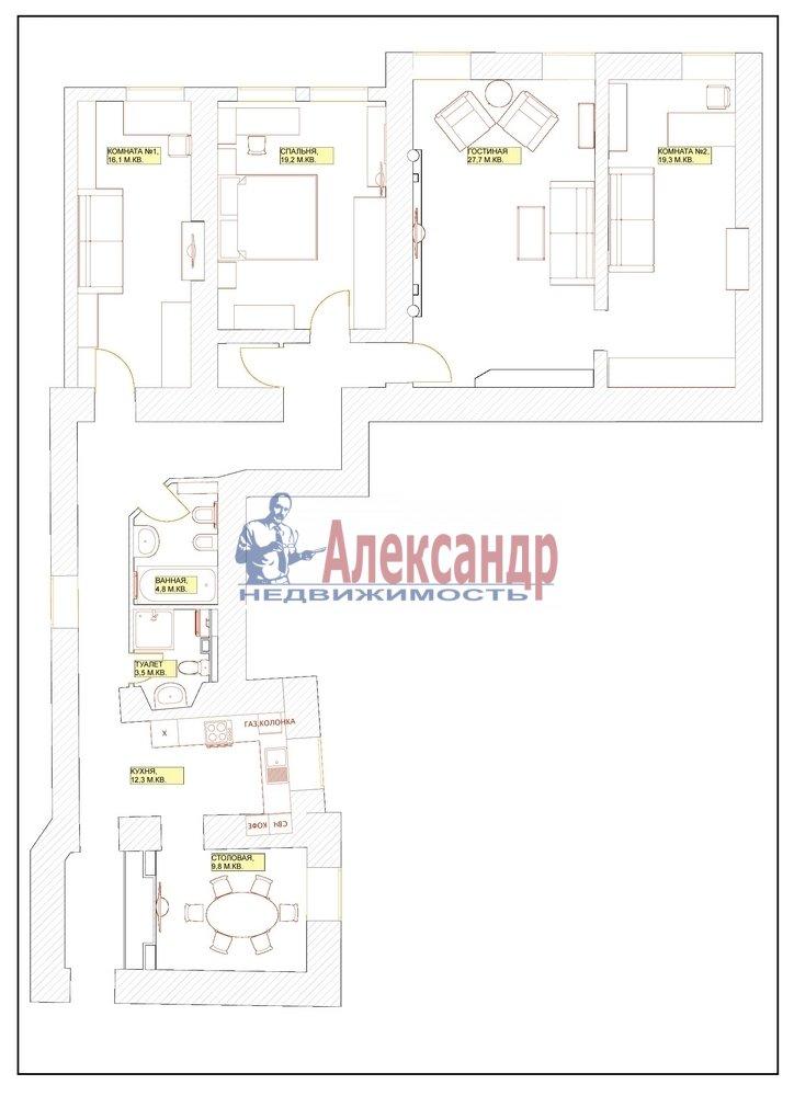 4-комнатная квартира (150м2) в аренду по адресу Миллионная ул., 17— фото 9 из 9
