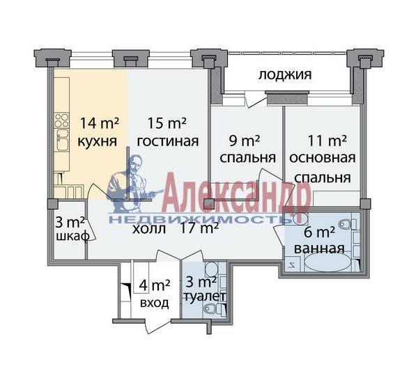 3-комнатная квартира (89м2) в аренду по адресу Морской пр., 33— фото 9 из 9