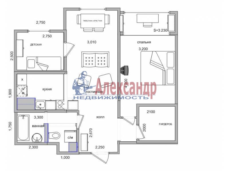 2-комнатная квартира (63м2) в аренду по адресу Большой Сампсониевский пр., 51— фото 5 из 5