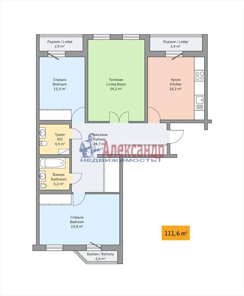 3-комнатная квартира (112м2) в аренду по адресу Детская ул., 18— фото 5 из 13