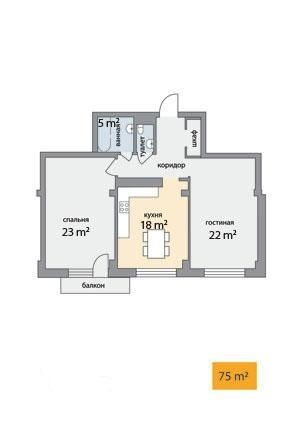 2-комнатная квартира (75м2) в аренду по адресу Графтио ул., 5— фото 4 из 4
