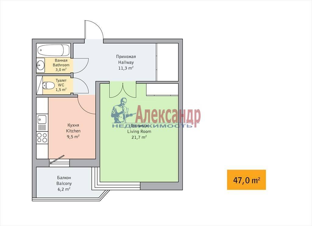 1-комнатная квартира (47м2) в аренду по адресу Детская ул., 18— фото 6 из 7