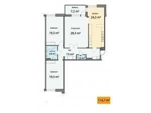 3-комнатная квартира (118м2) в аренду по адресу Барочная ул., 12— фото 5 из 6