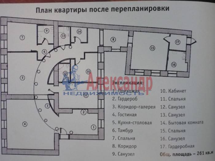 6-комнатная квартира (260м2) в аренду по адресу Итальянская ул.— фото 3 из 5