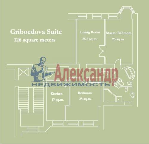 3-комнатная квартира (126м2) в аренду по адресу Канала Грибоедова наб., 10— фото 4 из 6