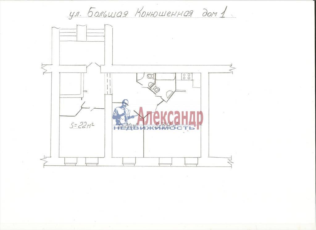 3-комнатная квартира (75м2) в аренду по адресу Большая Конюшенная ул., 6— фото 2 из 10