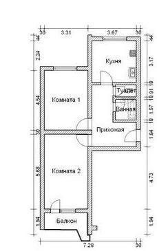 2-комнатная квартира (60м2) в аренду по адресу Ленинский пр., 114— фото 6 из 6