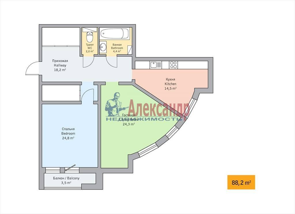 2-комнатная квартира (88м2) в аренду по адресу Детская ул., 18— фото 11 из 11