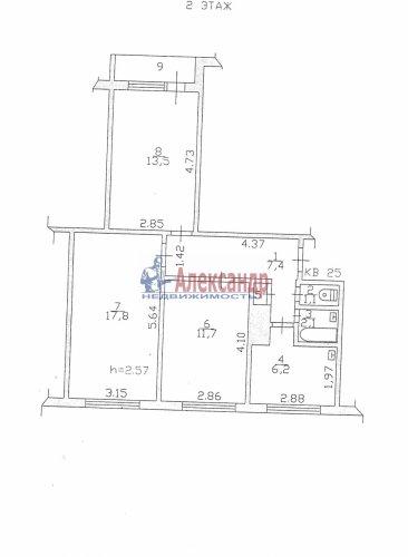 3-комнатная квартира (60м2) на продажу по адресу Сосновый Бор пос., 2— фото 7 из 7