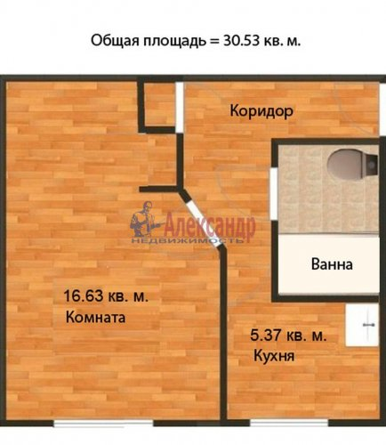 1-комнатная квартира (31м2) на продажу по адресу Орбели ул., 27— фото 11 из 20
