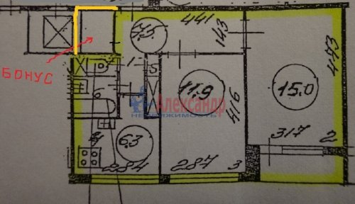 2-комнатная квартира (45м2) на продажу по адресу Маршала Жукова пр., 56— фото 16 из 16