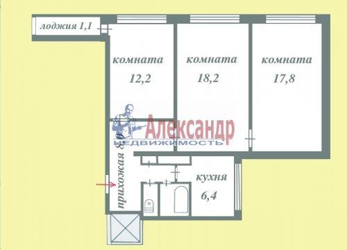 3-комнатная квартира (66м2) на продажу по адресу Всеволожск г., Ленинградская ул., 21— фото 4 из 20