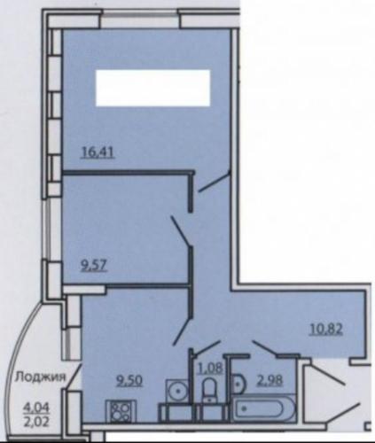 2-комнатная квартира (60м2) на продажу по адресу Маршала Блюхера пр., 12— фото 1 из 1
