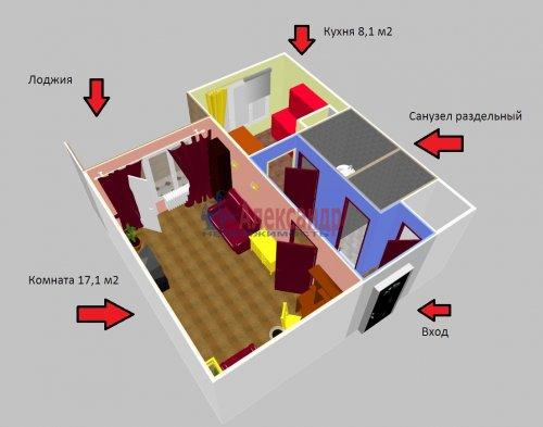 1-комнатная квартира (37м2) на продажу по адресу Соколинское пос., 15— фото 1 из 18