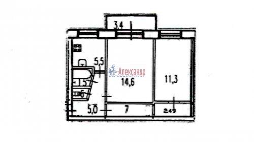 2-комнатная квартира (45м2) на продажу по адресу Юрия Гагарина просп., 14— фото 9 из 9