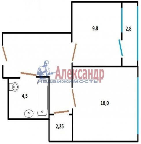 1-комнатная квартира (43м2) на продажу по адресу Купчинская ул., 34— фото 2 из 7