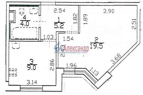 1-комнатная квартира (38м2) на продажу по адресу Пушкин г., Ленинградская ул., 46— фото 1 из 5