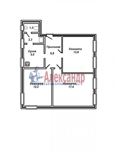 3-комнатная квартира (59м2) на продажу по адресу Невский пр., 74— фото 4 из 10