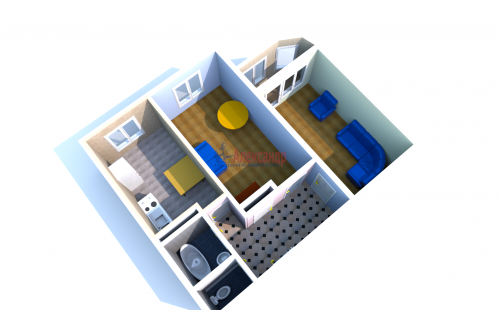 2-комнатная квартира (55м2) на продажу по адресу Латышских Стрелков ул., 5— фото 2 из 4